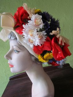 Irene I Magnin Vintage  Spring Bouquet Garden Hat Silk Floral Red White Blue Gold Church Derby by FabulousVintageHats on Etsy