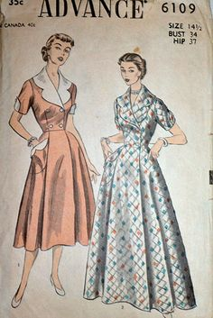 Vintage 50's Advance 6190 Dress Sewing by MemoryMadeMercantile