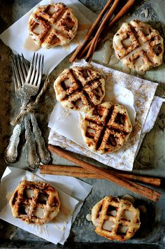 Cinnamon Roll Waffles with cinnamon Drizzle...easy holiday morning breakfast