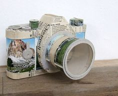 Paper SLR Camera by Jennifer Collier at madebyhandonline Paper Camera, Slr Camera, Collage Artists, Textile Artists, Jennifer Collier, Jenifer, Japanese Aesthetic, Paper Artist, Recycled Art