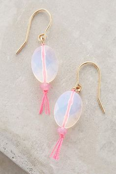 """DIY Idea: Anthro Moonstone Lure Drops, handmade in Ghana by the Blume Project. Metal, cotton thread, & moonstone. 1""""L x 0.5""""W"""