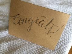 """Hand Lettered """"Congrats!"""" Note Card"""