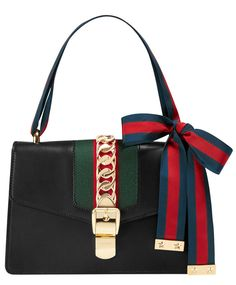 Gucci Sylvie Leather Shoulder Bag Trend Fashion, Fashion Bags, Women's Fashion, Fashion 2020, High Fashion, Kate Spade Handbags, Gucci Handbags, Classic Leather, Black Leather