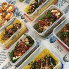 Lots of lunches and dinners prepped for the week! I have a butternut squash curry with grilled chicken, and spiced chicken with greens!