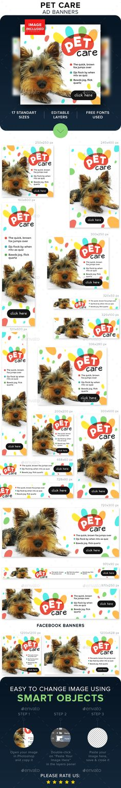 Pet Care Banners  — PSD Template #inspiration #creative #retargeting • Download ➝ https://graphicriver.net/item/pet-care-banners/18633127?ref=pxcr
