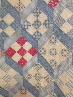 I love the way these 9 patch blocks are set! Old Quilts, Antique Quilts, Star Quilts, Scrappy Quilts, Easy Quilts, Vintage Quilts, Colchas Quilt, Quilt Blocks, 16 Patch Quilt