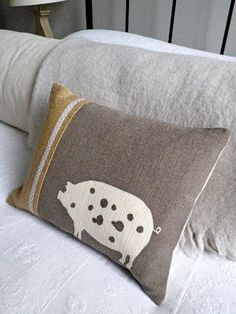 Hand printed minky  brown piggy cushion by helkatdesign on Etsy, $62.00