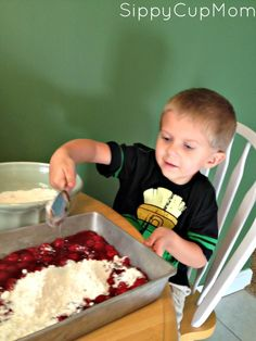 Cherry Dump Cake - So easy a toddler can make it!