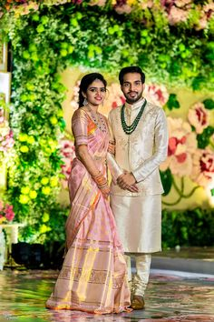Shopzters 12 Best Pastel Sarees We ve Seen On Our Brides Engagement Dress For Groom, Couple Wedding Dress, Engagement Saree, Indian Engagement Outfit, Groom Wedding Dress, Engagement Outfits, Wedding Couples, Indian Groom Dress, Wedding Dresses Men Indian