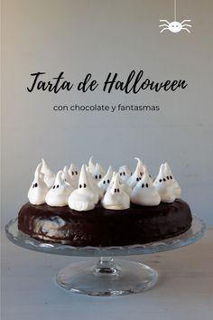 Tarta de Halloween, con chocolate y fantasmas | Pimienta y Purpurina Pasteles Halloween, Cake Cookies, Pudding, Place Card Holders, Desserts, Recipes, Blog, Cakes, Chocolate Frosting