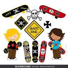 This item is unavailable Skateboard Party, Skateboard Boy, Cars Birthday Invitations, Skate Party, Cool Skateboards, Cute Clipart, Sports Images, Topper, Party Banners