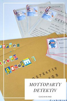 Mottoparty Detektiv For the Birthday there is a detective party with us. Everything is top secret. The invitation for the children's birthday with the motto detective is here with template. The detective party can start! 1st Birthday Games, Diy Birthday, Birthday Gifts, Diy Gifts For Kids, Diy For Teens, Geheimagenten Party, Party Box, Detective Party, Lema