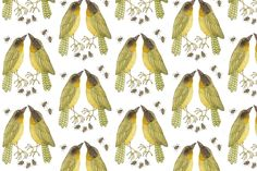 Golly Bard - Woodland Collection -Yellowthroats, Spoonflower