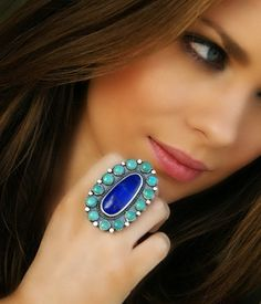 Lapis and Turquoise Sterling Silver Cluster Ring