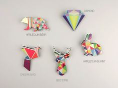 Geometric Bear Brooch Neon 'Harlequin Bear'