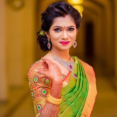 What lipstick shade to wear with green saree? Here is our quick guide on how to choose the best lip color for your various green color sarees! South Indian Bride Hairstyle, Indian Wedding Hairstyles, Bride Hairstyles, Kerala Bride, Hindu Bride, Indian Bridal Fashion, Sari, Beautiful Indian Actress, Beautiful Saree