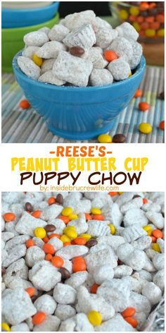 Three kinds of Reese's candies and cereal make this snack mix an amazing treat!  It always disappears in a day in our house!