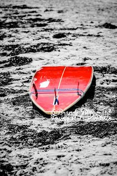 Red Surfboard Fine Art Photograph Shore Beach by BrandiFitzgerald, $25.00 Kiln Dried Wood, Mirror Image, Marshalls, Beach Themes, Barn Wood, Surfboard, I Shop, Marie, Coastal