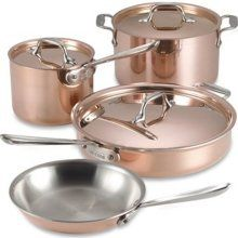 All Clad Copper 7 Piece Cookware I want more of the copper-colored, even though it is a pain to keep clean.