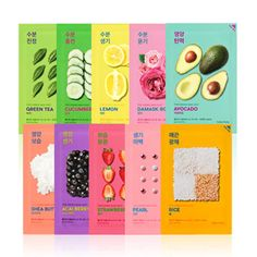 Holika Holika Pure Essence Mask Sheet x 3 in Avocado, Damask Rose, Green Tea, & Rice, $3.73