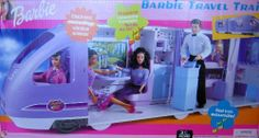 "Barbie Travel Train Vehicle Playset with Sounds, Electronic Moving Window Scenery & More (2001) by Mattel. $299.99. For ages 3+ years. All Items pretend & intended for Barbie & 11.5"" size fashion dolls; dolls NOT included. PLEASE see more info below in Product Description. Sizes, details, colors are approximate & may vary.. There's real Train Sounds & Electronic Moving Window Scenes! Record Announcements for the Passengers. Push Buttons to Record, Play Back & Sound Horn.. Ba..."