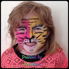Ansigtsmaling  Pink og gul Tiger