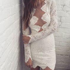 For Love & Lemons White Noir Mini Dress