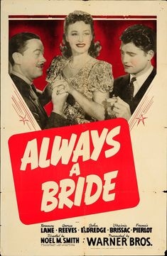 """Always a Bride 1940 Authentic 27"""" x 41"""" Original Movie Poster George Reeves Comedy U.S. One Sheet"""