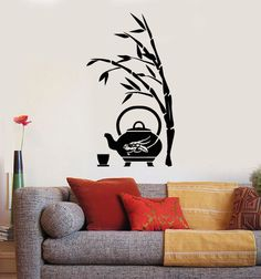 Wall Art Mural Bamboo Tree Branch Tea Pot Decor by BoldArtsy