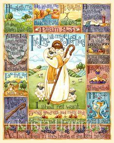 Psalm 23 original art print 8X10 11X14 by KristaHamrick on Etsy