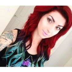 Red and teal hair - my color hair when i want it all done