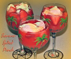 Rum Punch made with 7-Up, Hawaiian Punch, frozen strawberries and rainbow sherbert! Dessert and drink all-in-one.