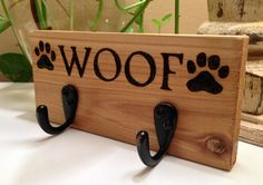 WOOF Paw Print Wood Burning Leash Hanger/ Rustic / by PuddinHeads