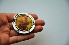 Purse Hook Decorated with Baltic Amber Mosaic Purse by AmberGiftLT
