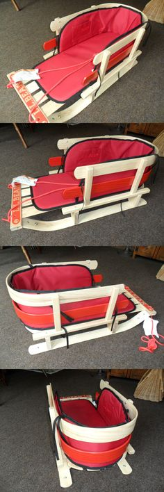 Sleds and Snow Tubes 59892: Ll Bean Classic Wood With Backrest And Red Cushion Pull Sled Toboggan -> BUY IT NOW ONLY: $99 on eBay!