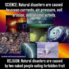 Image result for science vs religion, natural disaster