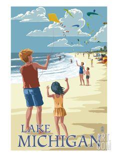 Lake Michigan - Children Flying Kites Print by Lantern Press at Art.com
