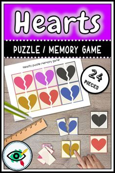 Free Valentine's day printable! Colorful hearts matching activity, or memory game.Suitable for little learners, preschool, kindergarten, special education. Teaching Shapes, Teaching Colors, Preschool Shapes, Teaching Ideas, Free Games For Kids, Puzzles For Kids, Homeschool Kindergarten, Homeschooling, Valentines Day Hearts