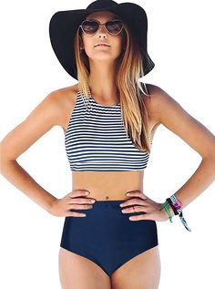Women's Clothing, Swimsuits & Cover Ups, Bikinis, Sets,Bikini Swimsuit For Women- Racerback 2PCS Tankini Stripe High Waisted Bikini - Navy - CP18C3SXG2I   #Fashion #Swimsuits #CoverUps #women #style #shopping  #Sets