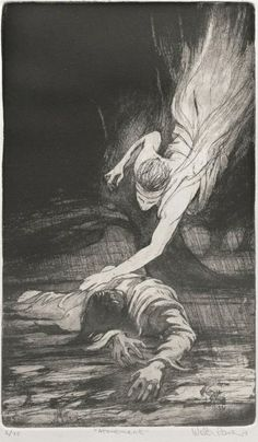 A favorite art piece. This is an etching done by Walter Rane Fine Art of the moment when an angel came down to support the Savior in the Garden of Gethsemane. Luke 22 describes the Gethsemane part of the Atonement in more detail than the other 3 gospels and includes in v 43 the description of an angel from heaven strengthening him. Thank you Walter Rane. Elder McConkie refers to this moment in his talk posted yesterday. (1/28/14)