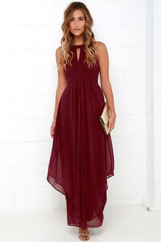When you're dreaming about the Dream Girl Wine Red Maxi Dress you won't want to wake up!