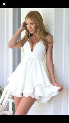 23e84226d94f Kearia Womens Sexy Deep V Neck Spaghetti Strap Pleated Ruffle Short Skater  Mini Dress White XLarge