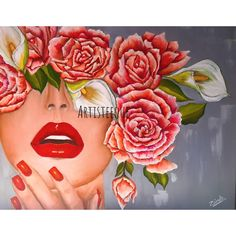 Blinded for Beauty   Oil painting Canvas art Canvas painting Red flowers Portrait painting  Woman Modern art Contemporary art Abstract