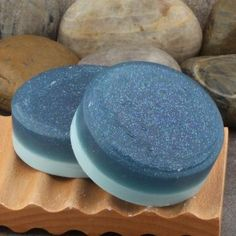 Celestial Moon and Stars Fragrant Blue Glycerin Soap Bar with Embedded Sparkling Glitter with a Unisex Crisp Clean Scent by AlaiynaBSoaps for $5.00