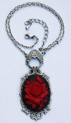 Ruby rose victorian cameo gothic necklace by pinkabsinthe on Etsy