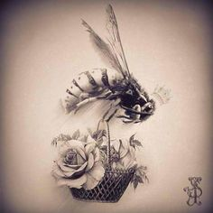 Vintage Queen Bee Tattoo #queenbee #roses