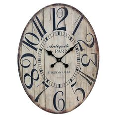 Wood wall clock with oversized numerals.   Product: Wall clockConstruction Material: WoodColor: Black ...