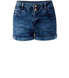 Blue Acid Wash High Waisted Shorts - new look £20