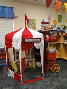 This could be cool in my classroom, but would only be for students who complete their work and do it well. Circus tent library-reading area