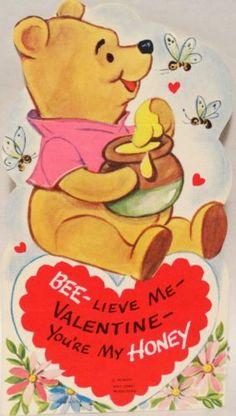 J446 70s Walt Disney Winnie The Pooh Vintage Diecut Valentine Card | eBay